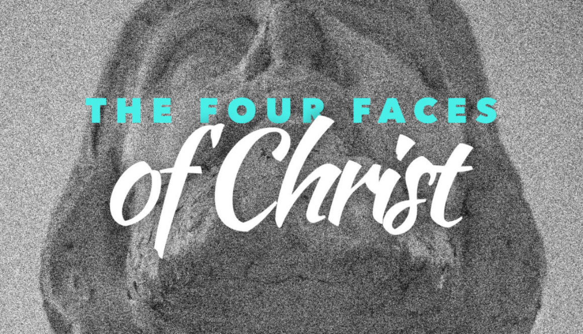 The Four Faces of Christ Series Banner - Black and White Photo of Jesus' Face