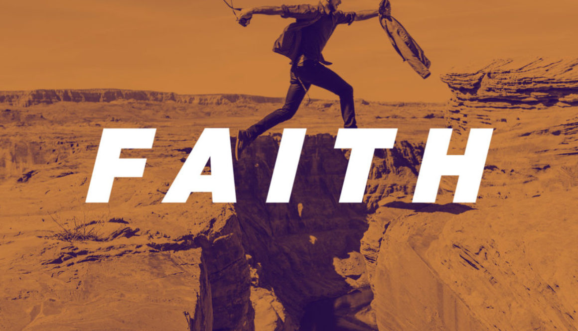 Faith Series Banner - Picture of Man Jumping Between Cliffs